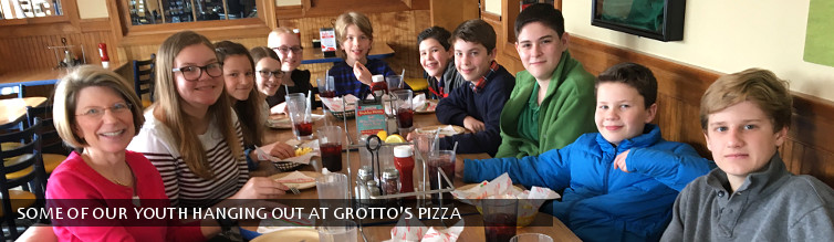 Some of our youth hanging out at Grotto's Pizza